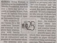 """Being Human"" at Apeejay School, Kolkata- In the News"